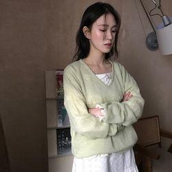 alpaca v-neck sheer knit (3colors)