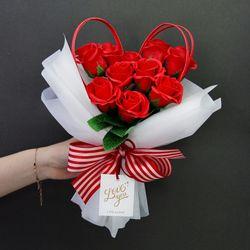 [리브인리프] 하트장미 꽃다발 (비누꽃)