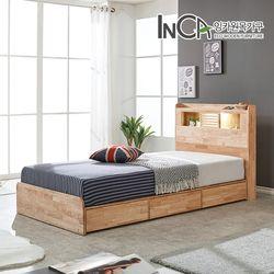 라헨느 고무나무 원목 LED 조명 서랍 침대 슈퍼싱글