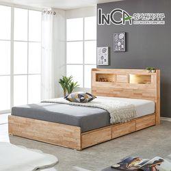 라헨느 고무나무 원목 LED 조명 서랍 침대 퀸