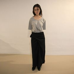 wrap strap maxi skirt (2colors)