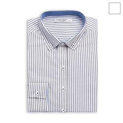 그레이 핀 스트라이프 셔츠 SHT371