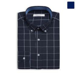 네이비 사각 체크 셔츠 SHT361