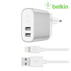 벨킨 부스트업 듀얼 충전기 + 아이폰 충전 케이블 F8J230kr04