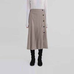 button line pleats long skirt (2colors)