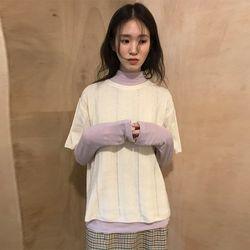 ivory half sleeve wool knit