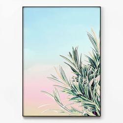 메탈 인테리어 식물 카페 감성 포스터 액자 로즈마리 [대형]