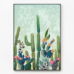 메탈 인테리어 북유럽 식물 포스터 액자 선인장 그림 [대형]