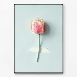 메탈 인테리어 식물 꽃 그림 포스터 액자 튤립 한송이 [대형]