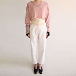 ivory straight cotton pants