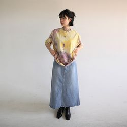 washing denim long skirt
