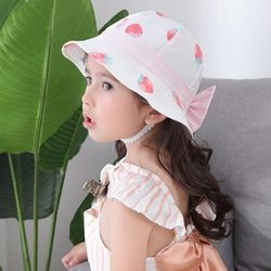 딸기에 물든 리본 유아 벙거지모자(44-52cm) 501767