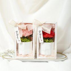 비누꽃 카네이션 스칸디아모스 대리석 화분 석고 방향제
