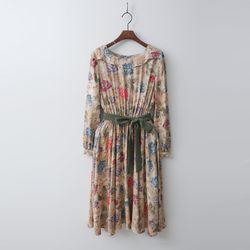 Linen Fit N Flare Flower Dress