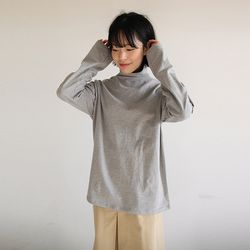 cotton loose turtle-neck tee (3colors)