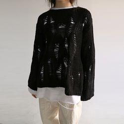 vintage weave net knit (black)