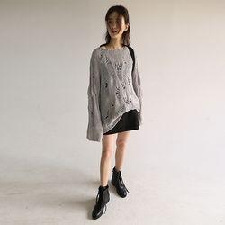 vintage weave net knit (gray)