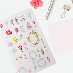 알록달록 꽃축제 투명 입체 스티커 (1개)