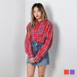 2424 자몽 오버핏 체크 셔츠 (2colors)