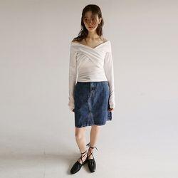 dark tone denim half skirt
