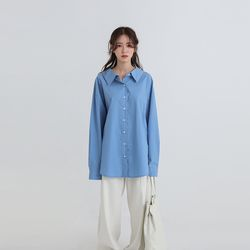 wide collar boxy over fit shirt (3colors)