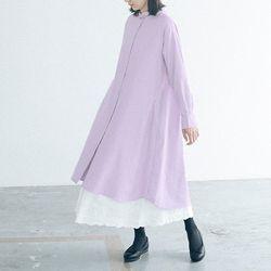 리라식: 풍성한 실루엣 코튼 사계절 롱셔츠 원피스 (라벤더)