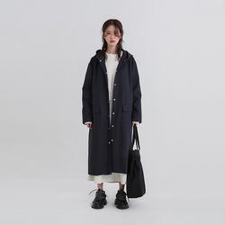 hoodie single trench coat (2colors)