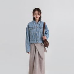 detail crop standard denim jacket (2colors)