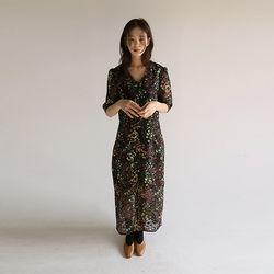 vintage floral half dress (2colors)