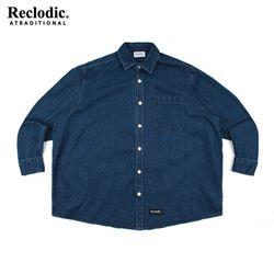 와이드 오버핏 데님셔츠 블루
