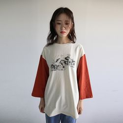 color sleeve character tee (2colors)