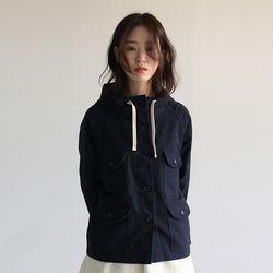 amekaji hoody cotton jacket (navy)