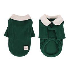 [T.삼각골지카라티셔츠]triangle golgi collar T Green