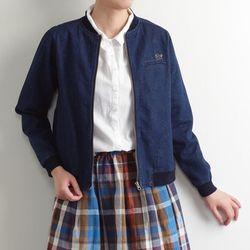 쁘띠: 라이트 데님 짚업 리브 숏 블루종 자켓 (인디고)