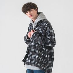 Flannel check shirt gray