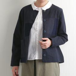 쁘띠: 린넨 & 레이스 패치워크 노카라 커버올 자켓 (네이비)