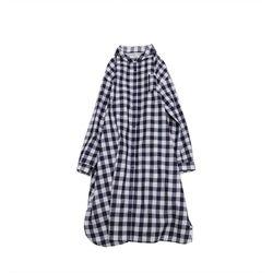 클라우드나인: 작은 카라 롱 셔츠 와이드 핏 원피스 (체크)