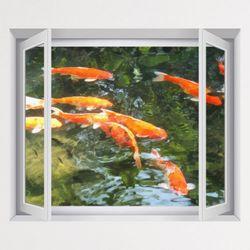 iy784-초록연못의풍수잉어창문그림액자(중형)