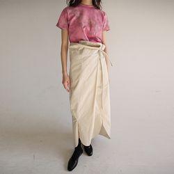 waist string maxi wrap skirt (lightbeige)
