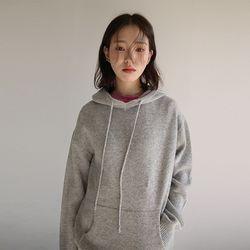 kangaroo pocket hoody knit (4colors)