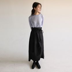 waist string maxi wrap skirt (black)