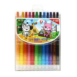 3500애니멀캠프12색돌돌이색연필