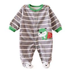 초록 강아지 줄무늬 발싸개 우주복(9-12개월) 203759