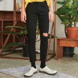 damage cutting black jeans - UNISEX