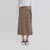 mate check belt banding long skirt (2colors)