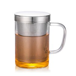 [로하티]진스 티머그 유리잔(450ml)/차거름망 머그컵