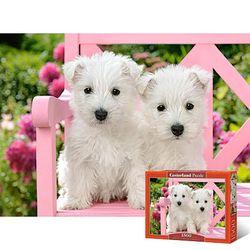 핑크색 벤치위 하얀 강아지 1500피스 직소퍼즐 LD151721