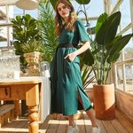 JERSEY BELTED LONG ONE-PIECE GREEN