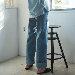 DENIM ROLL-UP WIDE PANTS BLUE
