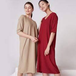에어니트 하프슬리브 루즈핏 드레스